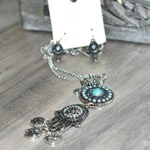 MAKARLON Hamsa Hand Silver Necklace & Earrings Set